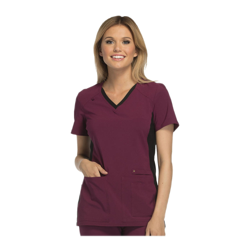 Cherokee Scrub Top iflex V-Neck Knit Panel Top Wine with Black Contrast Top