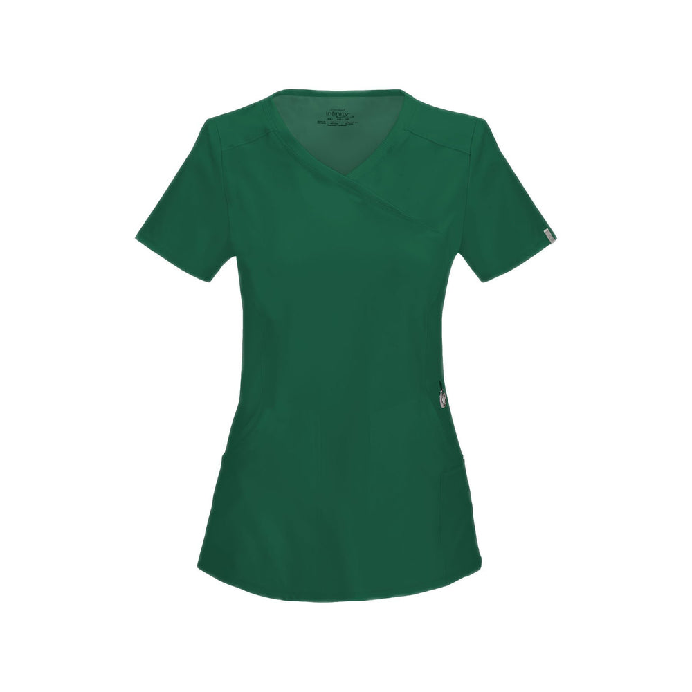 Cherokee Scrub Top Infinity Mock Wrap Top Hunter Green Top