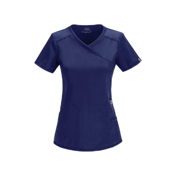 Cherokee Scrub Top Infinity Mock Wrap Top Navy Top