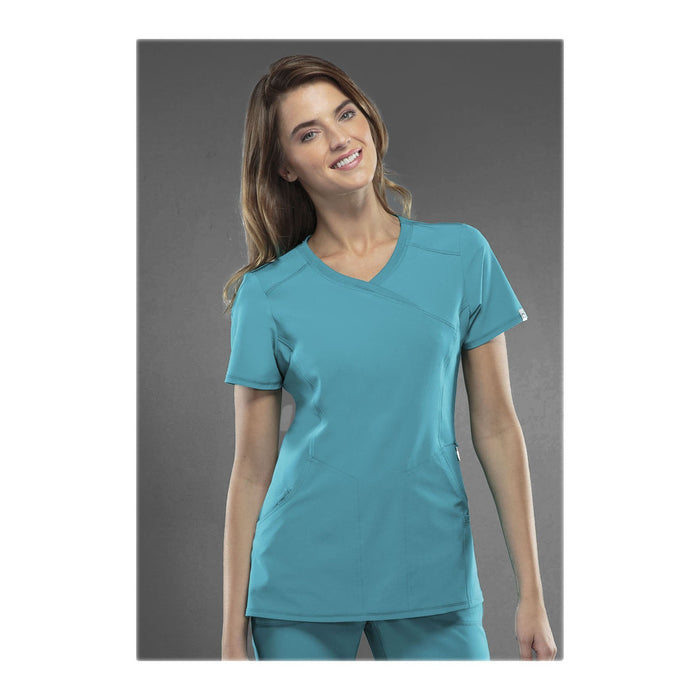 Cherokee Scrub Top Infinity Mock Wrap Top Teal Top