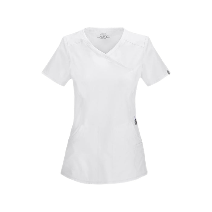 Cherokee Scrub Top Infinity Mock Wrap Top White Top