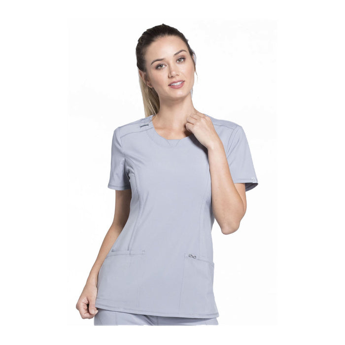 Cherokee Scrub Top Infinity Round Neck Top Grey Top