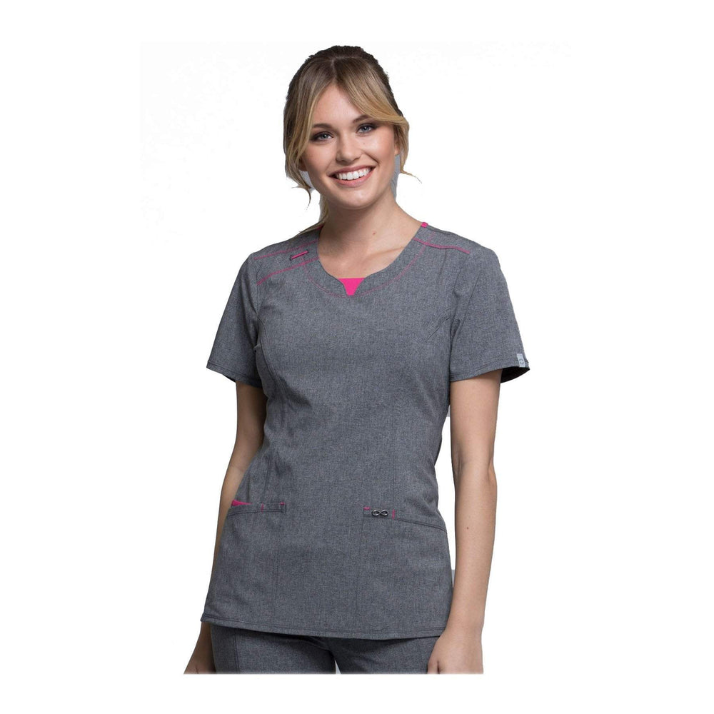 Cherokee Scrub Top Infinity Round Neck Top Heather Grey Top