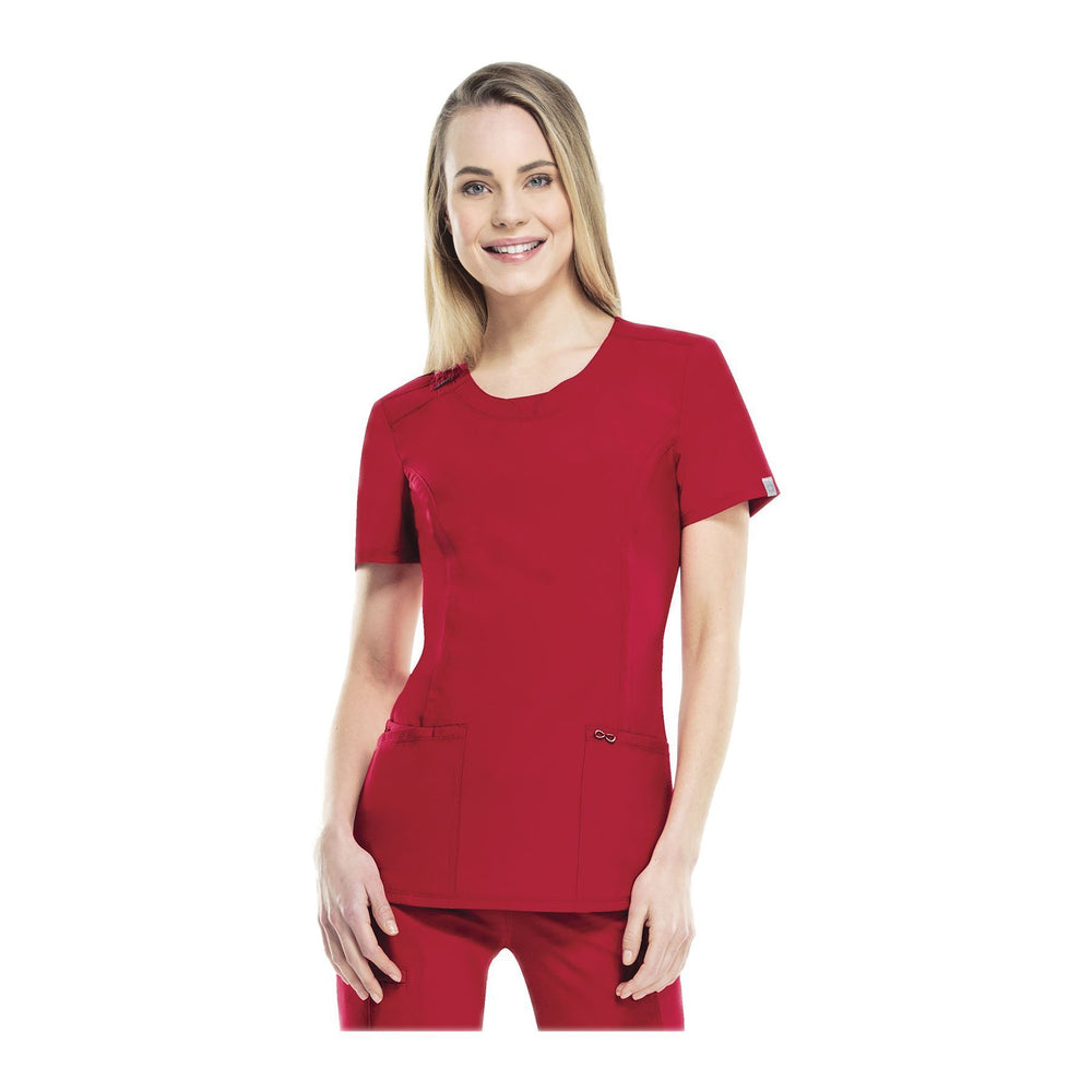 Cherokee Scrub Top Infinity Round Neck Top Red Top