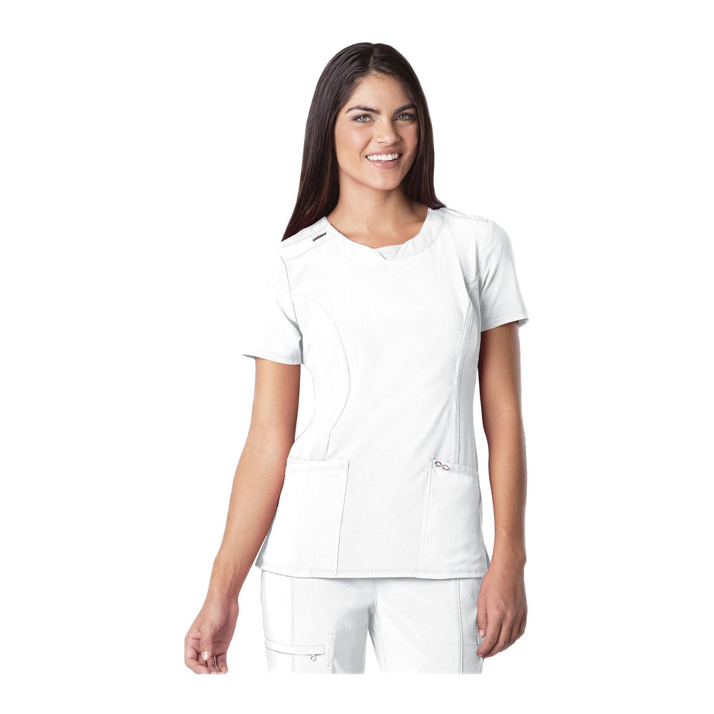 Cherokee Scrub Top Infinity Round Neck Top White Top