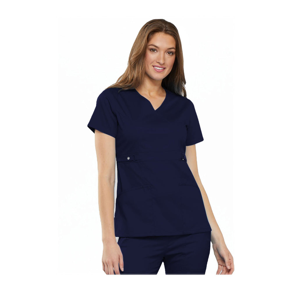 Cherokee Scrub Top Luxe Contemporary Fit Empire Waist Mock Wrap Top Navy Top