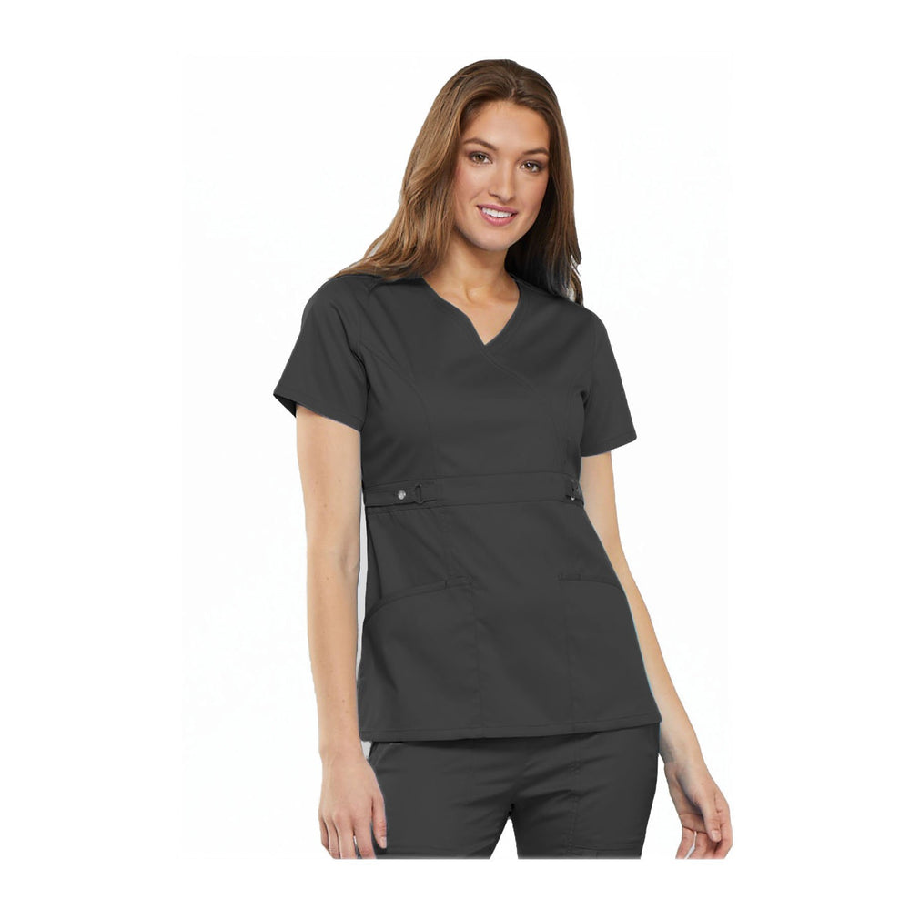 Cherokee Scrub Top Luxe Contemporary Fit Empire Waist Mock Wrap Top Pewter Top
