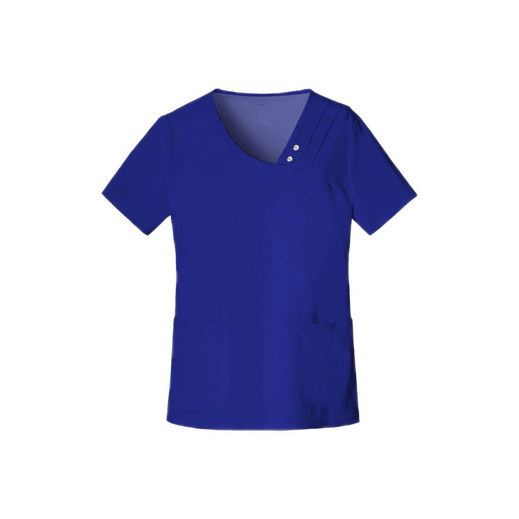Cherokee Scrub Top Luxe Crossover V-Neck Pin-Tuck Top Galaxy Blue Top