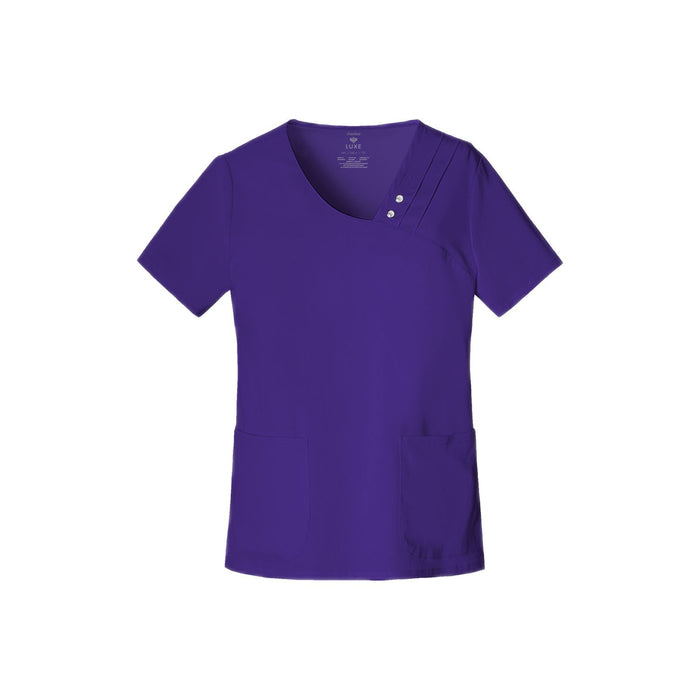 Cherokee Scrub Top Luxe Crossover V-Neck Pin-Tuck Top Nu-Grape Top