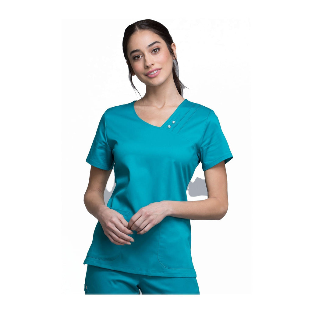 Cherokee Scrub Top Luxe Crossover V-Neck Pin-Tuck Top Teal Top