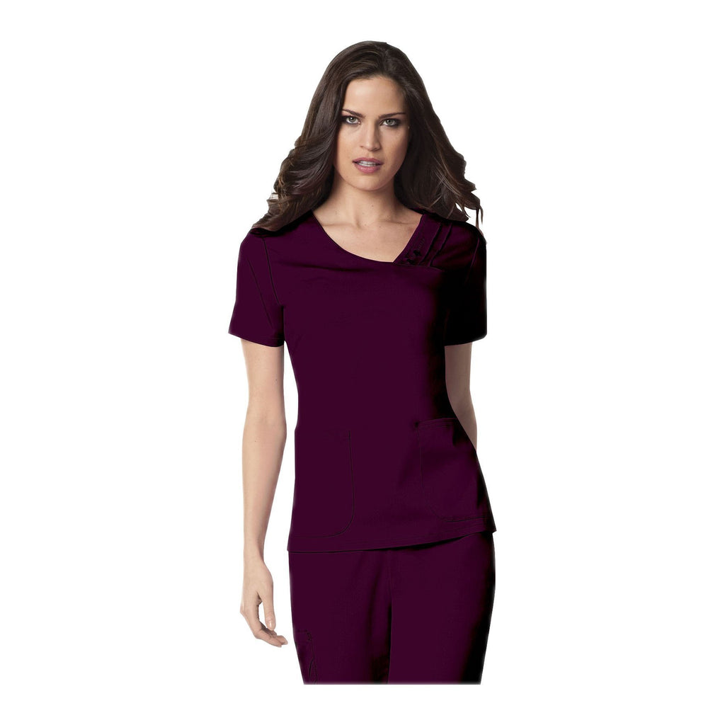 Cherokee Scrub Top Luxe Crossover V-Neck Pin-Tuck Top Wine Top