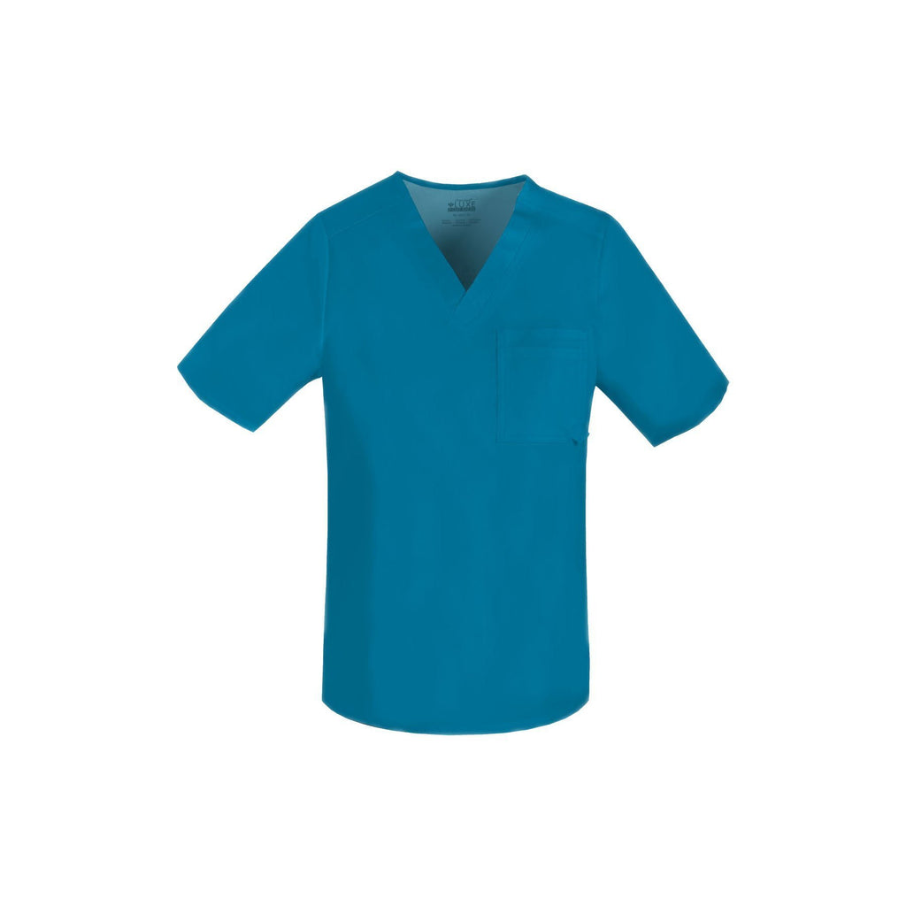 Cherokee Scrub Top Luxe for Men V-Neck Top Caribbean Blue Top