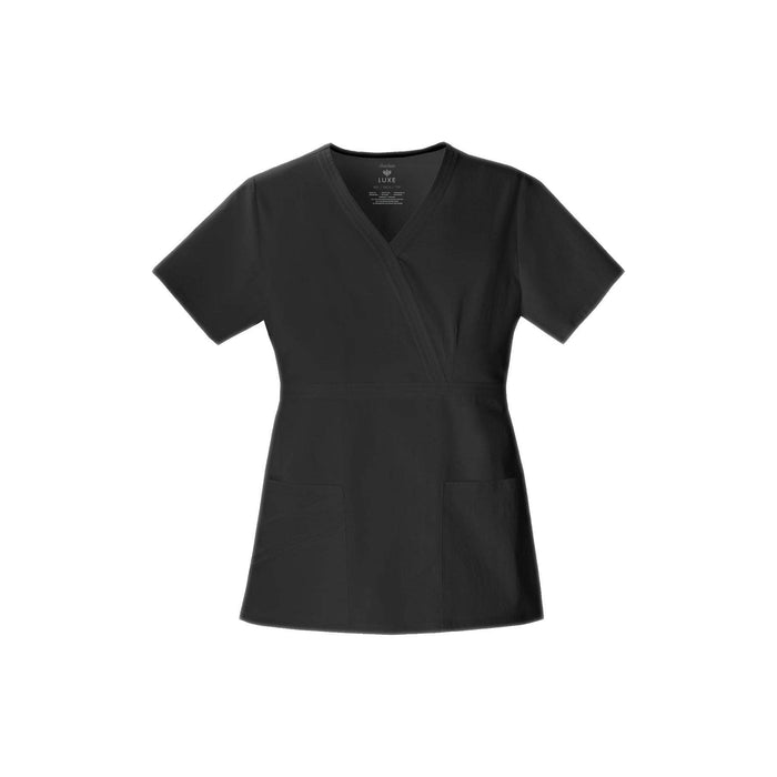 Cherokee Scrub Top Luxe Mock Wrap Top Black Top