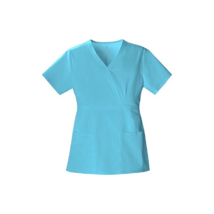 Cherokee Scrub Top Luxe Mock Wrap Top Blue Wave Top