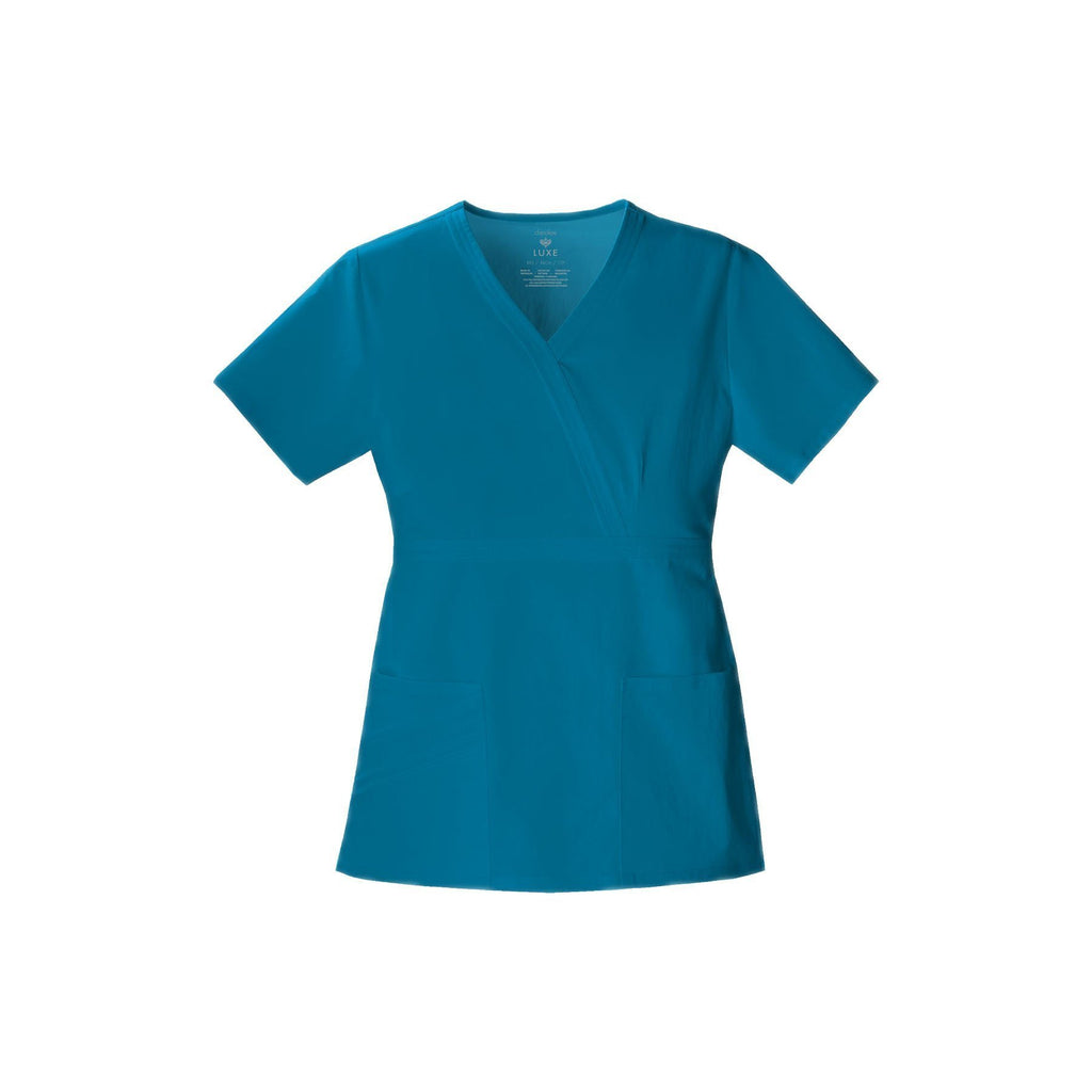 Cherokee Scrub Top Luxe Mock Wrap Top Caribbean Blue Top