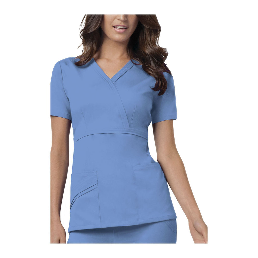 Cherokee Scrub Top Luxe Mock Wrap Top Ciel Top