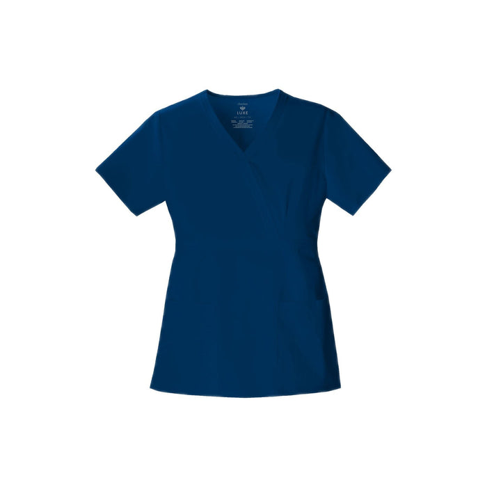 Cherokee Scrub Top Luxe Mock Wrap Top Navy Top