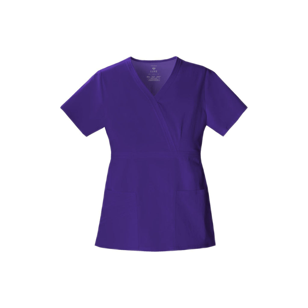 Cherokee Scrub Top Luxe Mock Wrap Top Nu-Grape Top