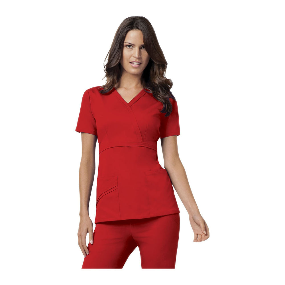 Cherokee Scrub Top Luxe Mock Wrap Top Red Top