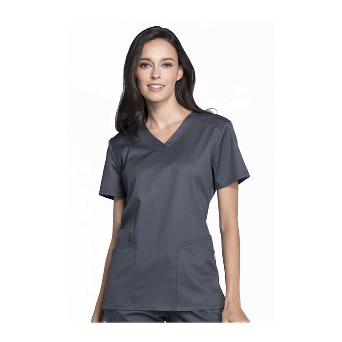 Cherokee Scrub Top Luxe Sport V-Neck Top Pewter Top