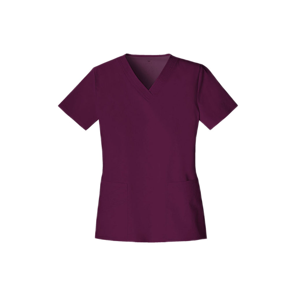 Cherokee Scrub Top Luxe V-Neck Top Wine Top