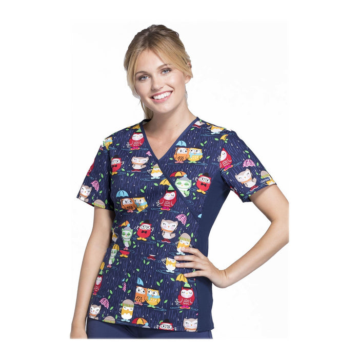 Cherokee Scrub Top Natural Navy Mock Wrap Knit Panel Top Playful Puddles Top