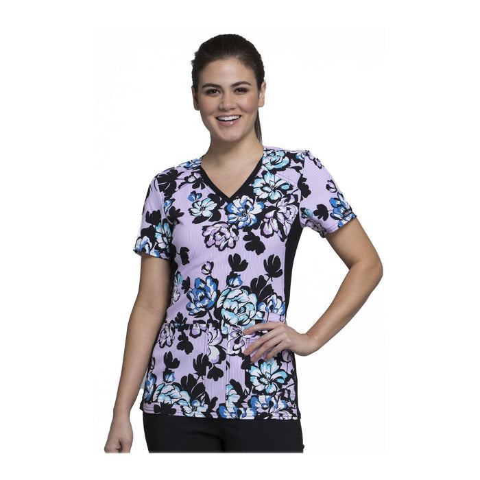 Cherokee Scrub Top Wild At Heart V-Neck Knit Panel Top Bright On Bloom Top