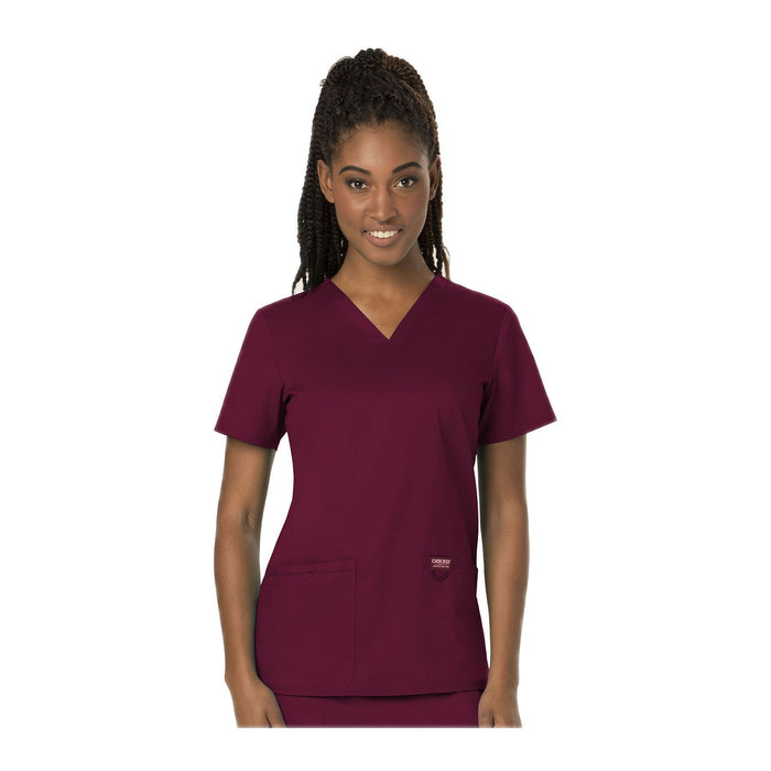 Cherokee Scrubs Workwear WW620 WW Revolution Top Modern Classic Wine Top