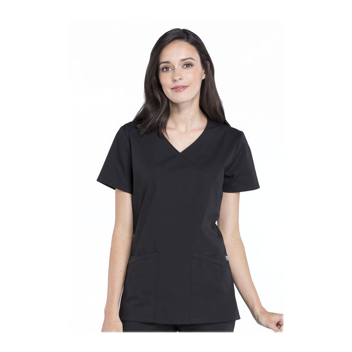 Cherokee Scrubs Workwear WW655 WW Professionals Top Modern Classic Black Top