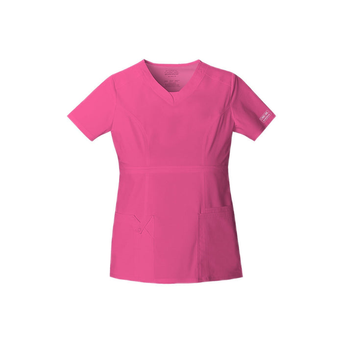 Cherokee Workwear Top WW Core Stretch Contemporary Fit V-Neck Top Shocking Pink Top