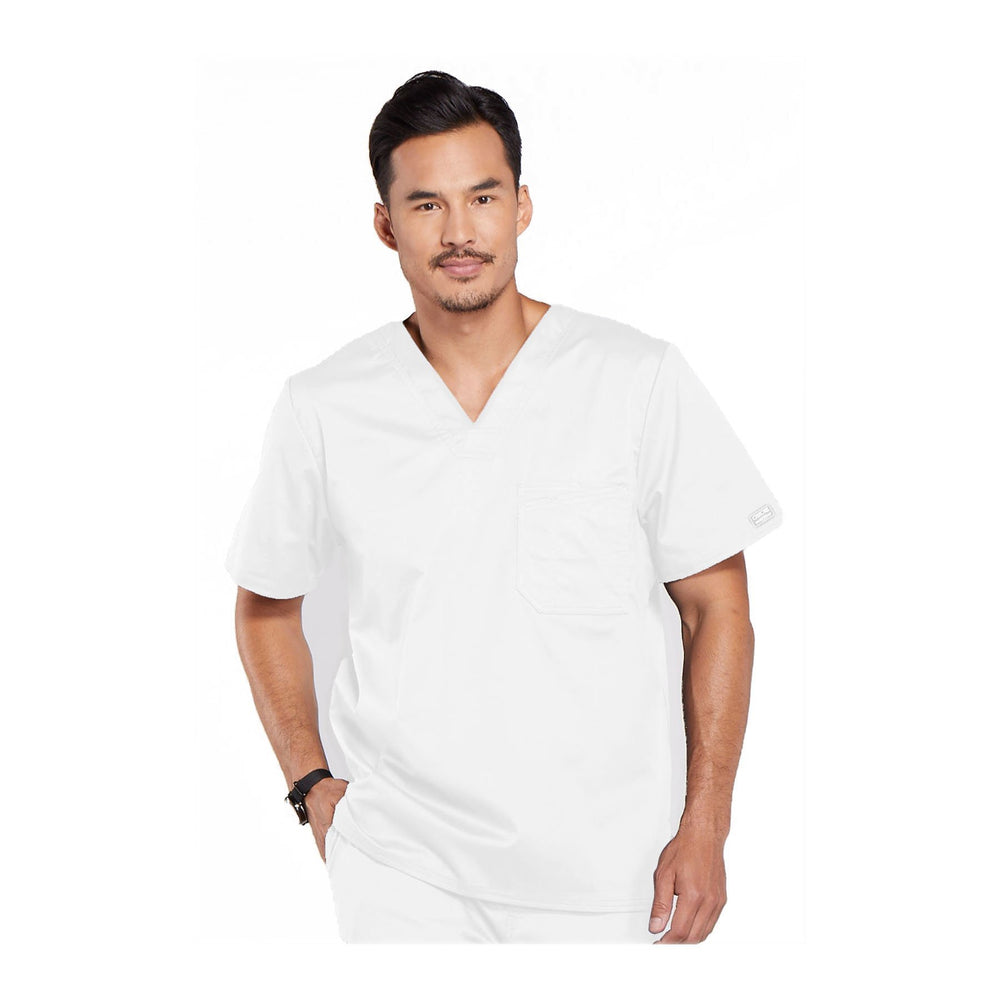 Cherokee Workwear Top WW Core Stretch Men's Men's V-Neck Top White Top