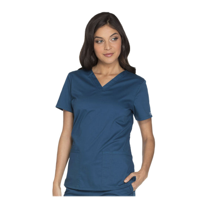 Cherokee Workwear Top WW Core Stretch V-Neck Top Caribbean Blue Top