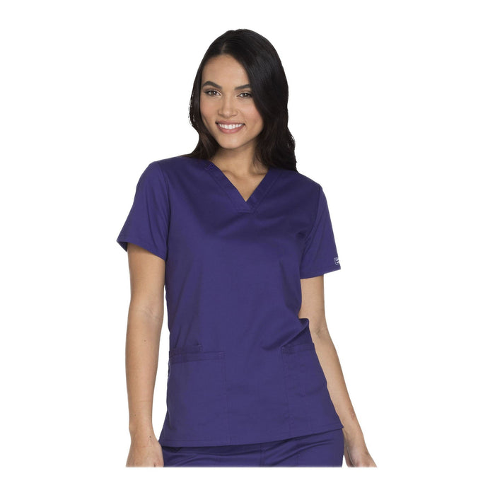 Cherokee Workwear Top WW Core Stretch V-Neck Top Grape Top