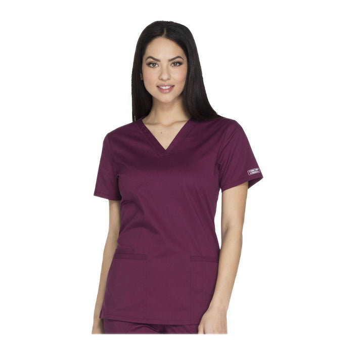 Cherokee Workwear Top WW Core Stretch V-Neck Top Wine Top