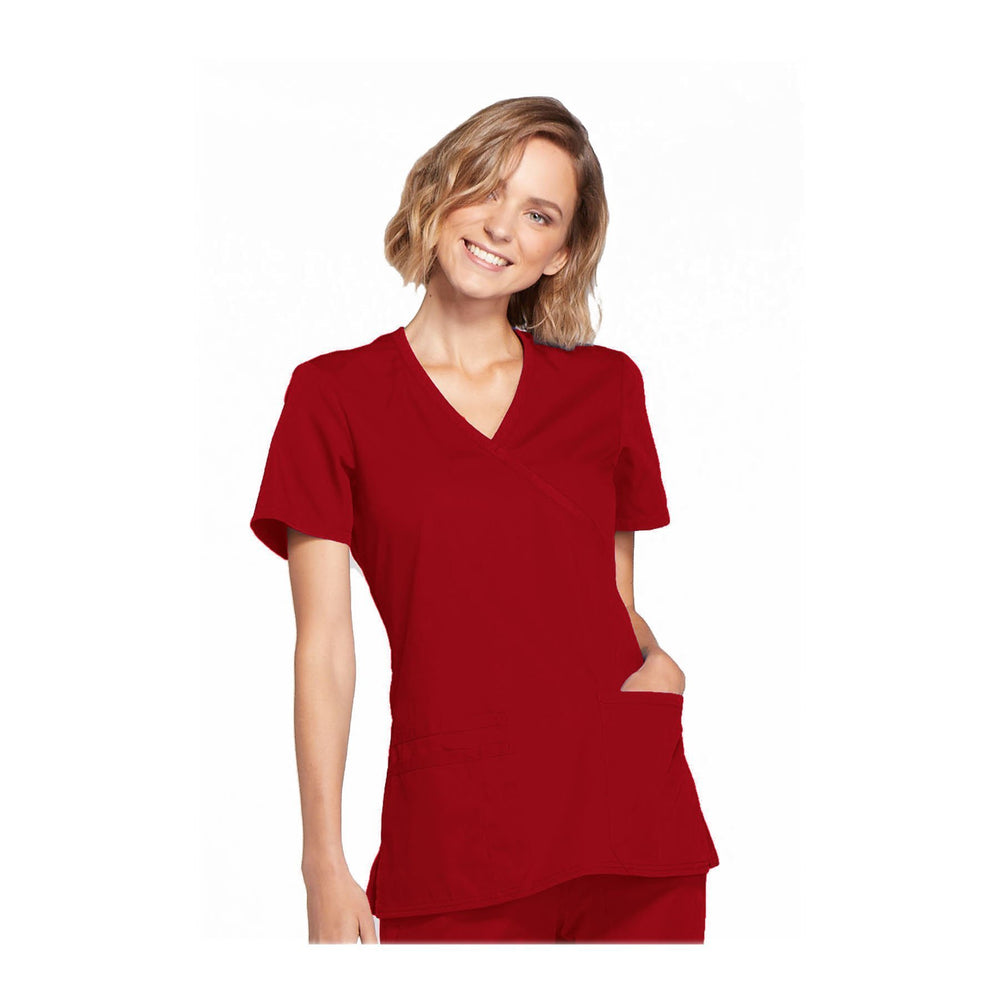 Cherokee Workwear Top WW Mock Wrap Top Red Top