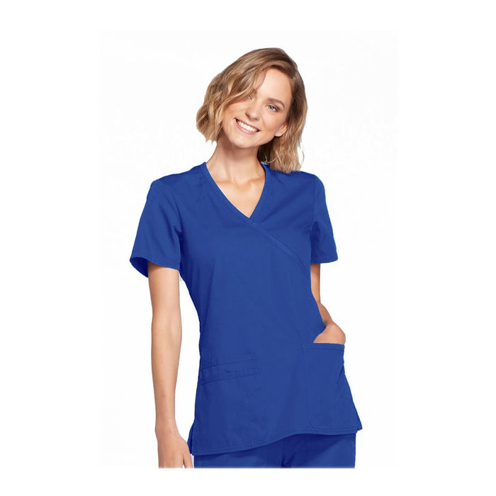 Cherokee Workwear Top WW Mock Wrap Top Royal Top