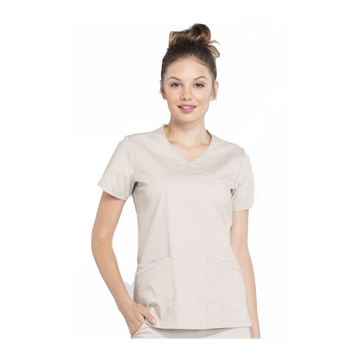 Cherokee Workwear Top WW Professionals Mock Wrap Top Khaki Top