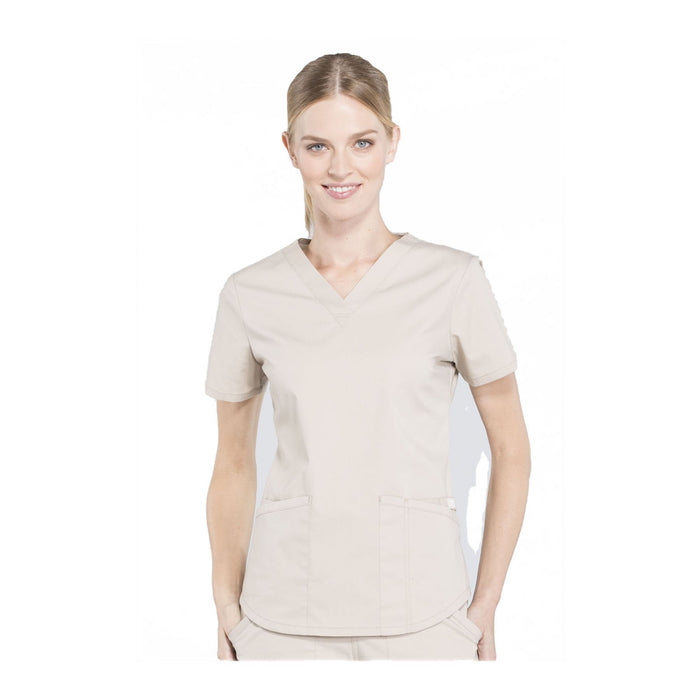 Cherokee Workwear Top WW Professionals V-Neck Top Khaki