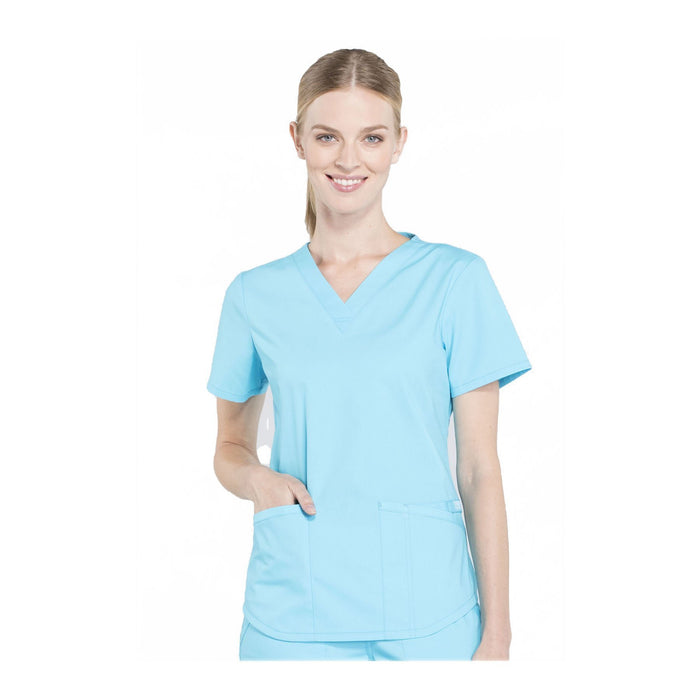 Cherokee Workwear Top WW Professionals V-Neck Top Turquoise Top