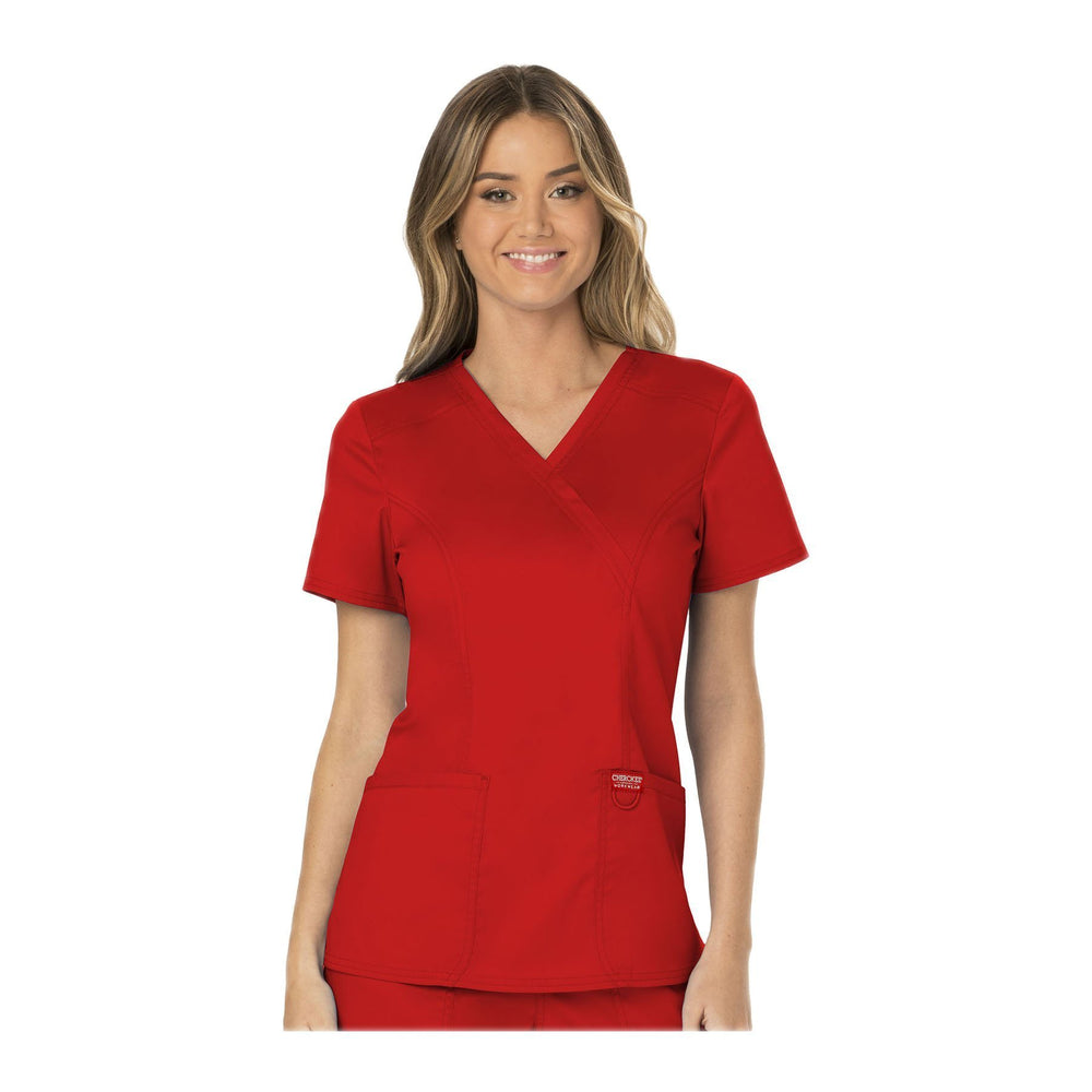 Cherokee Workwear Top WW Revolution Mock Wrap Top Red Top
