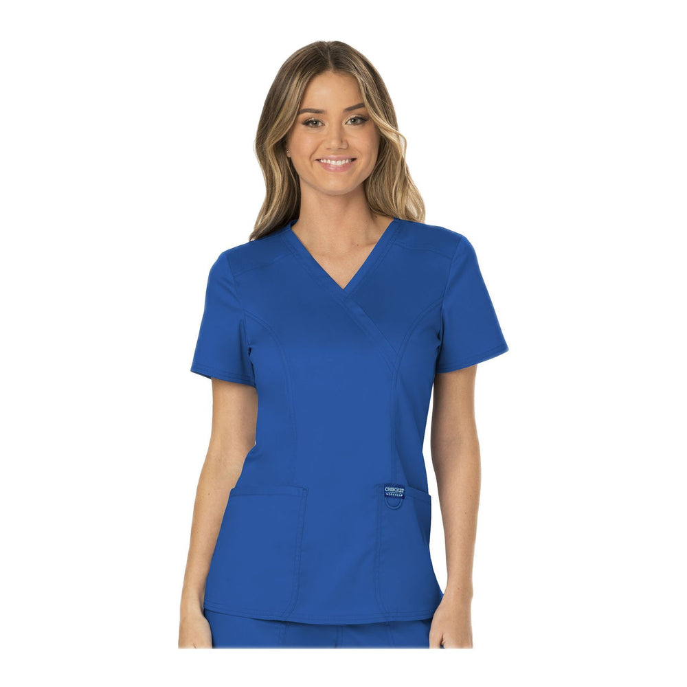 Cherokee Workwear Top WW Revolution Mock Wrap Top Royal Top