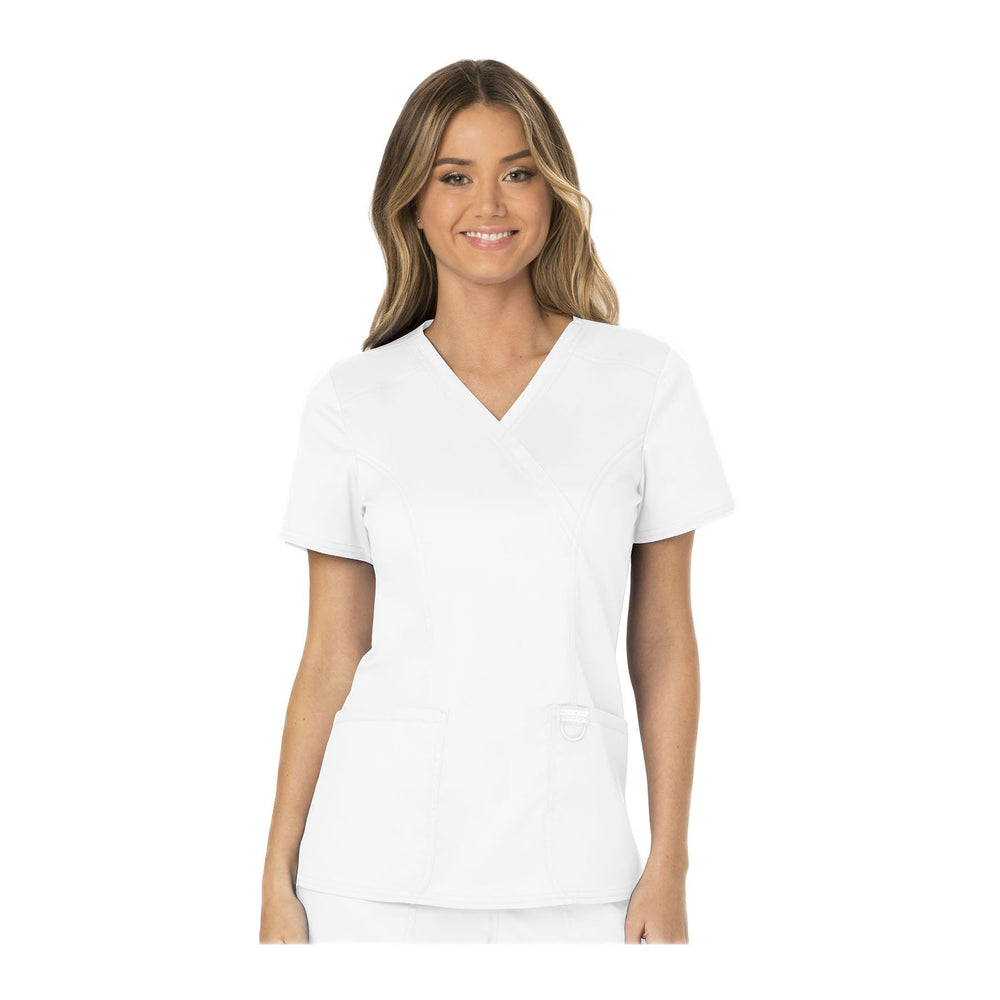 Cherokee Workwear Top WW Revolution Mock Wrap Top White Top