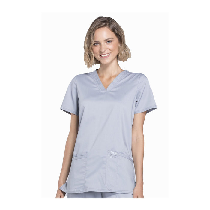 Cherokee Workwear Top WW Revolution V-Neck Top Grey Top