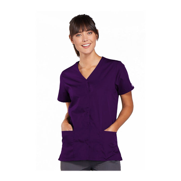Cherokee Workwear Top WW Snap Front V-Neck Top Eggplant Top