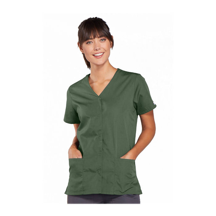 Cherokee Workwear Top WW Snap Front V-Neck Top Olive Top