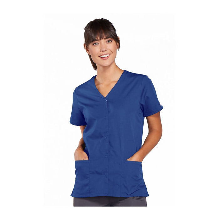 Cherokee Workwear Top WW Snap Front V-Neck Top Royal Top