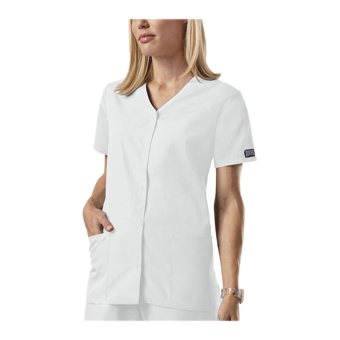Cherokee Workwear Top WW Snap Front V-Neck Top White Top