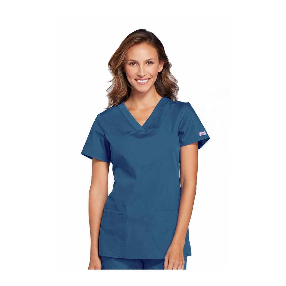 Cherokee Workwear Top WW V-Neck Top Caribbean Blue Top