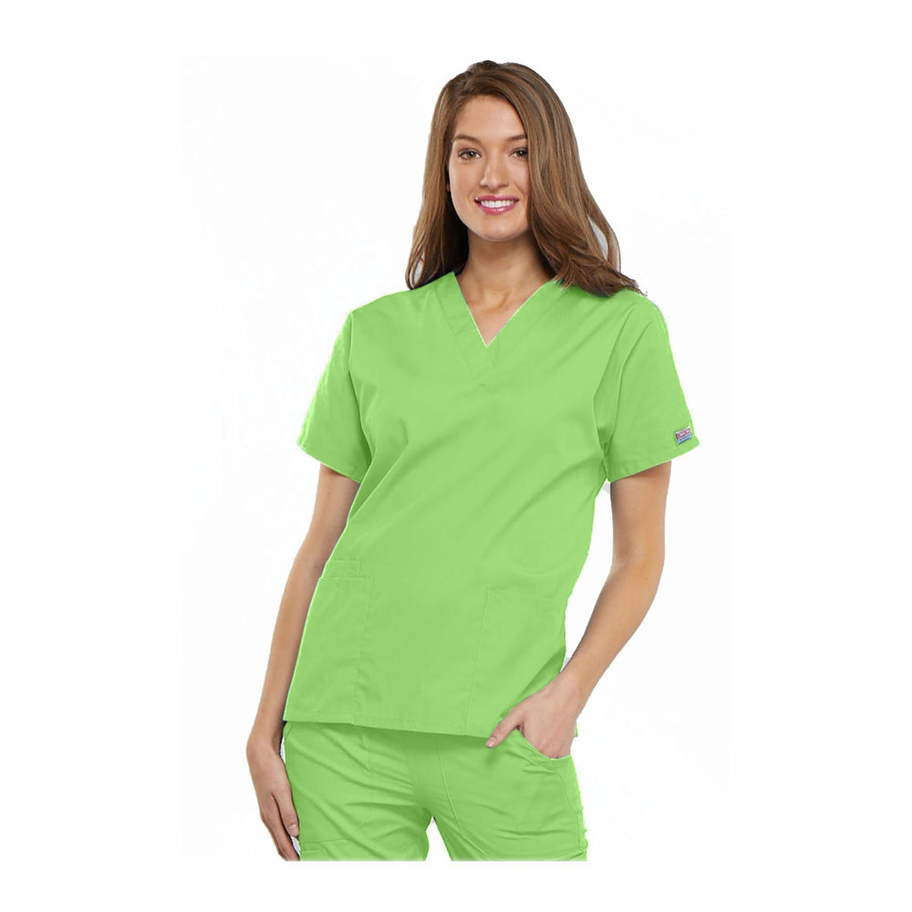 Cherokee Workwear Top WW V-Neck Top Lime Green Top