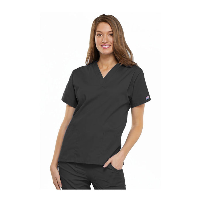 Cherokee Workwear Top WW V-Neck Top Pewter Top